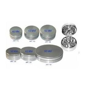 Grinder de aluminio plateado de 50 milímetros y 2 partes