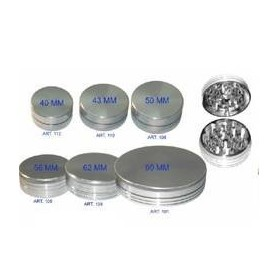 Grinder de aluminio plateado de 44 milímetros y 2 partes