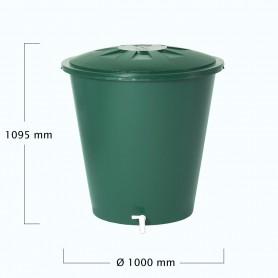 Depósito verde y redondo con tapa, grifo y capacidad para 500 litros