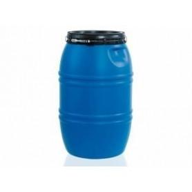Bidón industrial azul con tapa y capacidad para 220 litros
