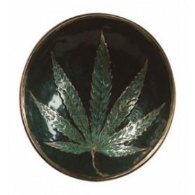 Bandeja mediana de 11 centímetros de diámetro con hoja de cannabis